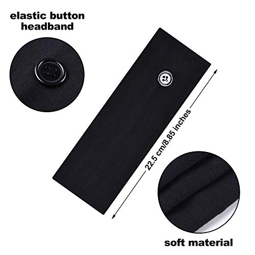 6 Pieces Button Headband Unisex Elastic Hair Band with Button Face Cover Holder for Nurses, Doctors and Ears Protection (Black)
