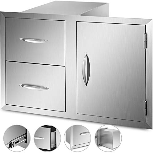 VBENLEM Outdoor Kitchen Door Drawers Combo 35.4x23.6 Inch Stainless Steel Access Door/Double Drawers Combo for Outdoor Kitchens & BBQ Island