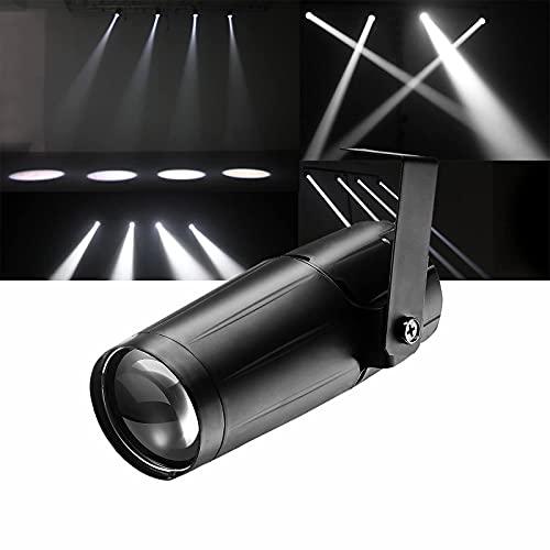 Lámpara LED de escenario, Pinspot LED con efecto DJ de 3 W, foco blanco, mini haz de luz, lámpara de escenario, para bola de espejo DJ, discoteca, casa, fiesta, show Club