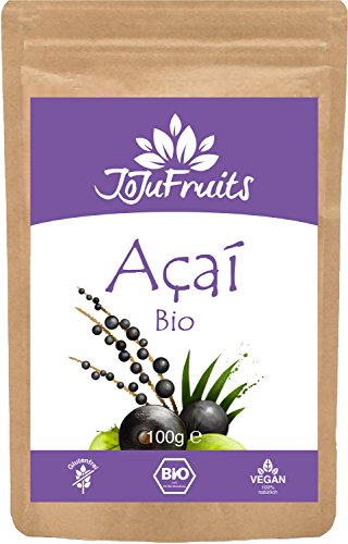 Acai Pulver Bio (100g) - JoJu Fruits - (Vegan, Glutenfrei, Laktosefrei) Superfood aus Bio Acai...