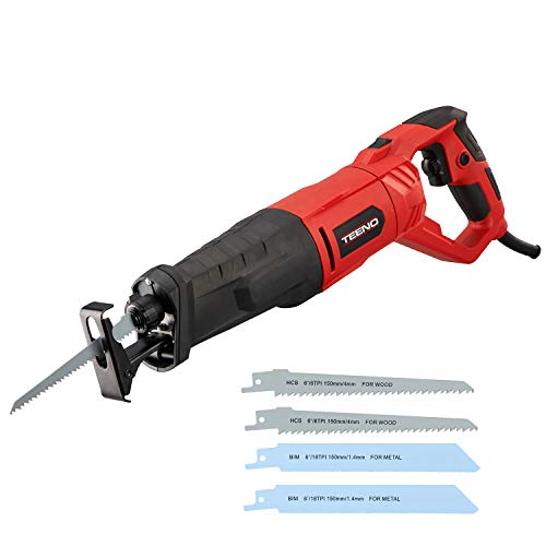 TEENO 810W Reciprocating Saw with Rotary Handle, 4 Saw Blades for Wood and Metal