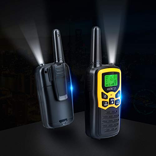 41dj76cscUL - Walkie Talkies Long Range for Adults Two-Way Radios Up to 5 Miles in Open Fields 22 Channels FRS/GMRS VOX Scan LCD Display with LED Flashlight Ideal for Field Survival Biking Hiking Camping 4 Pack
