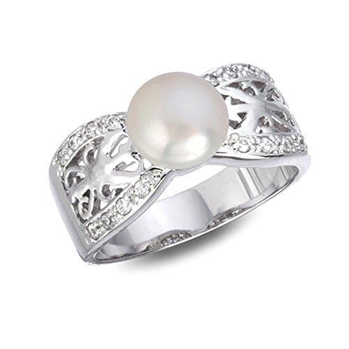 Rylos Anillo de perlas de agua dulce con circonita blanca inspirada en rodio