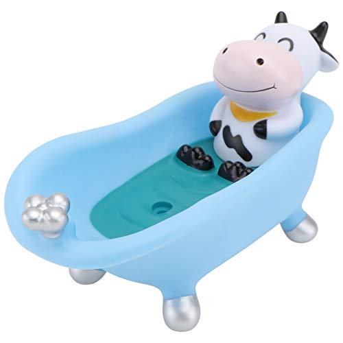 Amosfun Jabonera con bandeja de goteo, diseño de animales, para baño, ducha, baño, cocina, forma...