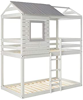 DONCO kids Deer Blind Bunk Loft Bed Twin/Twin Light Grey