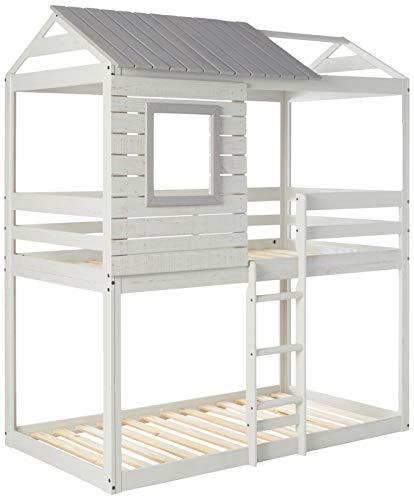 DONCO kids Deer Blind Bunk Loft Bed, Twin/Twin, Light Grey