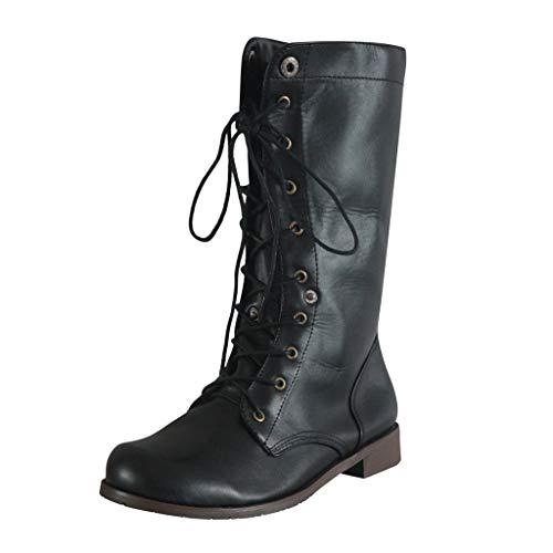 POLP Botas Mujer Invierno Vintage Casual Zapatos de tacón bajo con Cordones Tacón Ancho Antideslizante Business A la Moda Cuero Artesanal Botas Militares