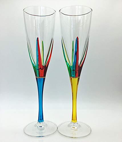「ポジタノ」シャンパンフルート - セット/2 - イエロー&ターコイズ- ベネチアンガラス