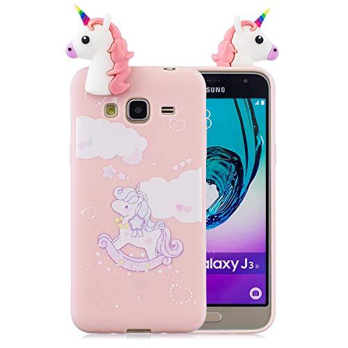 Leton Cover per Samsung Galaxy J3 2016 Unicorno Rosa Silicone 3D Morbido TPU Gel Custodia Samsung Galaxy J3 2016 Antiurto Flessibile Gomma Case Protettiva Bumper Candy Copertura 3D Papa