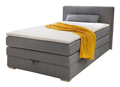 Möbel Jack Boxspringbett Polsterbett Einzelbett | 120x200 cm | Grau | Bonellfederkernmatratze