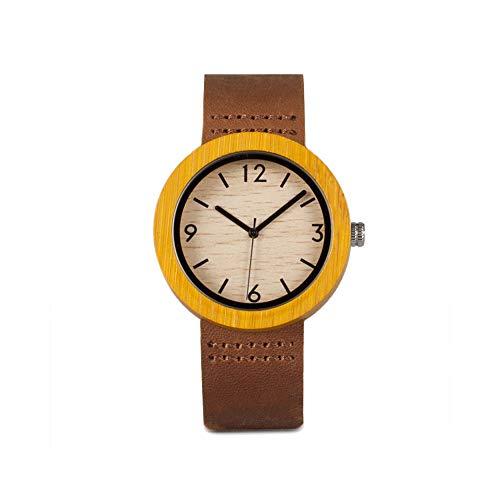 Reloj de Bolsillo Bambú y Madera Reloj Literary Juventud Simple Reloj de Moda Casual Watch Simple Creative Bamboo Retro Reloj (Color : B Digital Model)