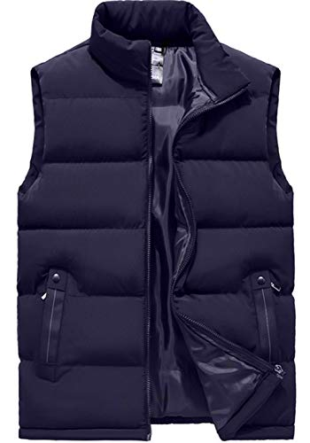 XinYangNi Men's Outdoor Down Vest Winter Casual Padded Puffer Sleeveless Jacket Dark Blue US S