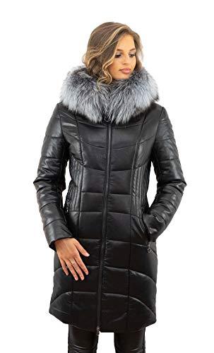 Wintermantel mit Silberfuchs Pelzkragen schwarz kurz
