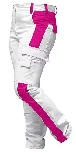 strongAnt® - Damen Arbeitshose komplett Stretch Weiß Pink für Frauen Malerhose mit Kniepolstertaschen. Reißverschluss YKK + Metallknopf YKK Baumwolle - Made in EU - Weiß-Pink 48
