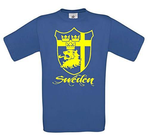 T Shirt Schweden BLAU Sweden Sverige Stockholm Skandinavien Angeln Trikot Herren (l)
