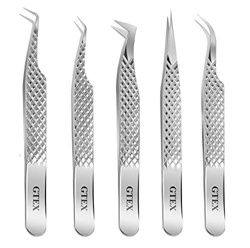 GTEX Lash Eyelash Extension Tweezers Set of 5, Japanese Stainless Steel Tools Straight Curved 45 90 Degree Angled Tip, Volume Tweezers Precision Silver