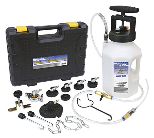 Mityvac MV6840 Hydraulic Brake and Clutch Pressure Bleeding System with Integrated Safety and Pressure Relief Valve, 7 Master Cylinder Adapters and Case