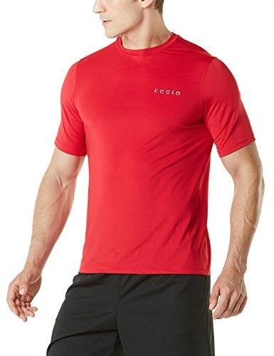 TM-MTS04-RED_3X-Large Tesla Men's HyperDri Short Sleeve T-Shirt Athletic Cool Running Top MTS04