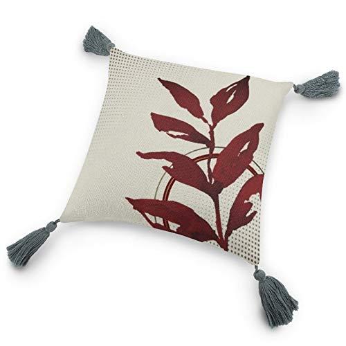 Funda de almohada con inserto de 9.8 x 9.8 pulgadas, color crema y burdeos acuarela hojas y círculos, funda de cojín decorativa con borlas para dormitorio, sala de estar, sofá