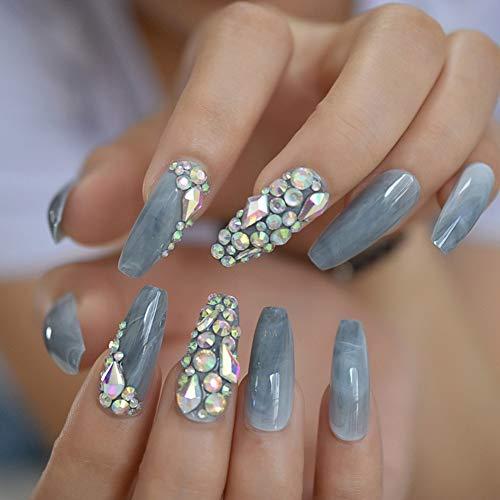 Faux Ongles Faux Ongles 3D Marbre Rose Brillant Extra Longue Pointu Presse sur Salon Party Wear Nail Conseils