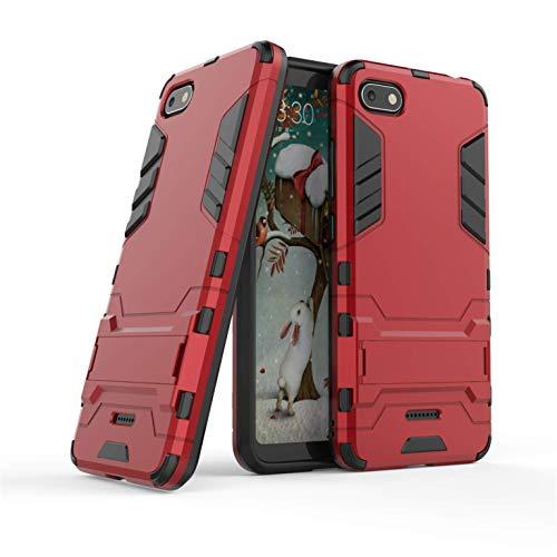 Funda Xiaomi Redmi 6A, Funda 2in1 Dual Layer 360° Full Body Anti-Shock Protección Silicona TPU Bumper y Duro PC Armadura con Soporte y Desmontable Carcasa para Xiaomi Redmi 6A, Rojo