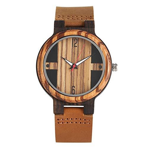 Relojes de Madera para Hombre Reloj de Pulsera para Hombre con Correa de Cuero de Madera modelo3