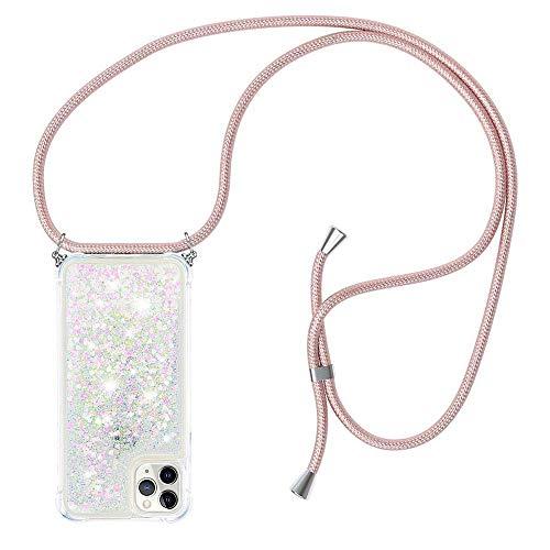 Funda con Cuerda para iPhone 11 Pro MAX Carcasa Bling Glitter Liquida Cordón, [Moda y Practico] [ Anti-Choque] [Anti-rasguños] Carcasa ,Cuerda para Colgar en - Case y Correa