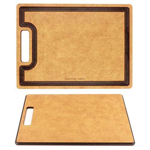 Northern Simple Premium Tabla de Cortar de Fibra de Madera, Maciza, Apto para lavavajillas, Resistente al Calor, diseño Profesional, Respetuoso con los Cuchillos, sostenible, 29,5 x 39,5 cm, asa