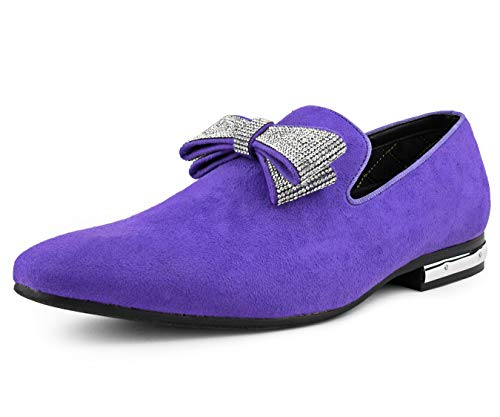 Amali Fowler, Suede Men's Slippers - Mens Loafers - Mens Slip On Shoes - Tuxedo Shoes - Designer Shoes for Men - with Shiny Bow Tie and Metallic Heel Detail, Lavender Size 10.5