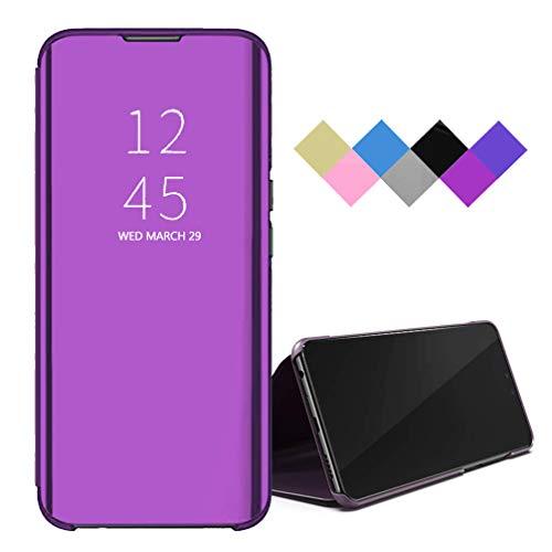 BRAND SET Funda para Xiaomi Mi 10T Pro 5G/Mi 10T 5G Smart Mirror Flip Cover Funda Ultrafina para Teléfono a Prueba de Golpes con Función de Soporte Adecuado Carcasa para Mi 10T Pro 5G-Rosa Púrpura