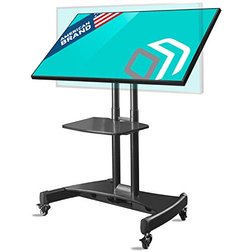 "ONKRON Tilting Mobile TV Stand for 32"" to 65 Inch TVs & Interactive Touch Panels TV Cart on Wheels with Shelf Black TS1330"