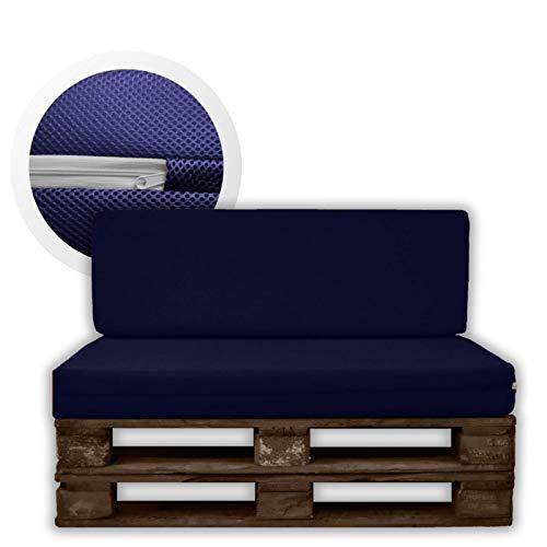 MICAMAMELLAMA Pack Ahorro Asiento + Respaldo Cojines para palets Sofa de Palets Exterior e Interior - Funda Azul 3D - Espuma HR Alta Densidad - Grosor 12cm - Euro Palets