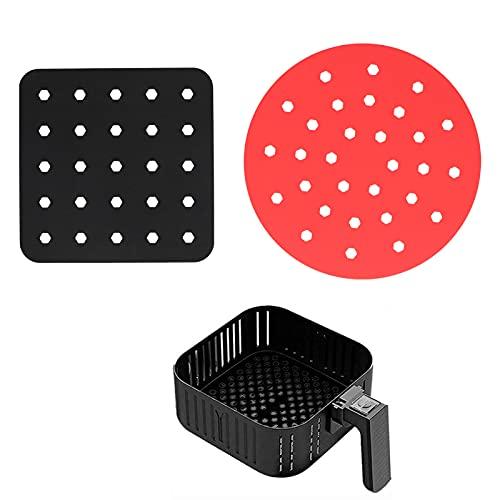 Trazador de líneas de la freidora, alfombrilla de la freidora del silicón de los accesorios de la freidora para cocinar al vapor para freír al aire(Black square + red circle)