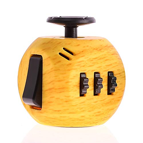 FIDGET DICE 6 Sides Fidget Toys Cube Relieves Stress and Anxiety Cube for Children and Adults (Wooden)