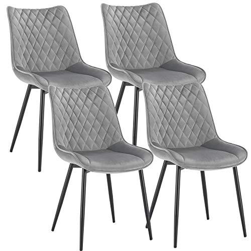 WOLTU 4 x Esszimmerstühle 4er Set Esszimmerstuhl Küchenstuhl Polsterstuhl Design Stuhl mit Rückenlehne, mit Sitzfläche aus Samt, Gestell aus Metall, Hellgrau, BH209hgr-4