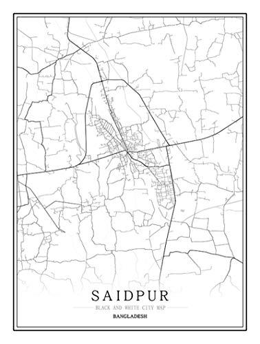 Rompecabezas para Adultos Saidpur City Mapa Jigsaw para Adultos Línea En Blanco Y Negro Jigsaw Intelectual Juego Educativo Difícil Y Desafío para Adultos Juguetes Juego De Regalo Decoració