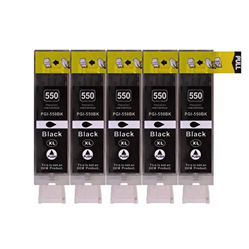 5 Druckerpatronen für Canon mit Chip, ersetzt PGI-550BK schwarz