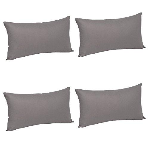 WOLTU® KB5149dgQ2-2, 4X Kissenbezug Kissenhülle 100% Baumwolle mit Reissverschluss, 4er Set Sofakissen Dekokissen Kopfkissen Hülle Bezüge Bezug, 50x70 cm, Dunkel Grau