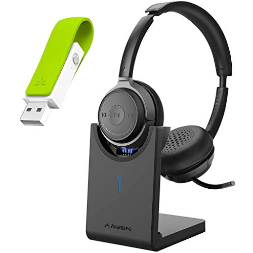 Avantree Alto Clair & Leaf - aptX HD Bluetooth 5.0 Headset with Microphone and Class 1 Long Range USB Bluetooth Audio Transmitter Adapter for PC Laptop Mac