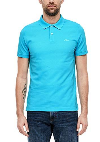 s.Oliver RED Label Herren Poloshirt mit Waffelpiqué-Struktur Aqua XL