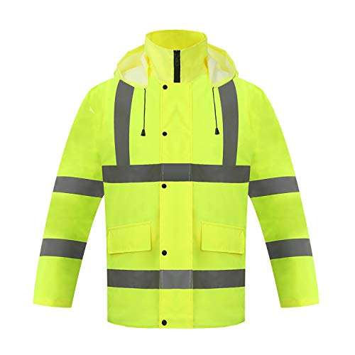 ZOJO High Visibility Winter Safety Jacket, Waterproof Jacket, (Extra Large, Yellow)