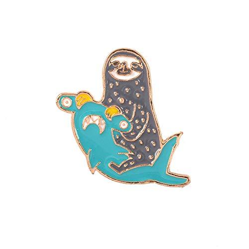 Feli546Bruce Brooch Pin, Cute Hammerhead Shark Sloth Enamel Brooch Pin Lapel Denim Bag Badge Jewelry, Blue