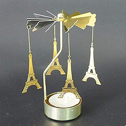 DIAOSUD kandelaar decoratie, gouden toren creatieve kerstmis draaien draai carrousel waxinelichtje kandelaar centrum kroonluchter party inrichting