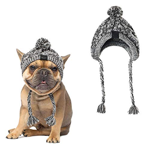 Dog Pom Pom Hat,Winter Warm Knit Cap for Dogs,Cute Fashion Dog Beanie Hat Pet Headwear Costume Accessory, Small Medium Dogs French Bulldog (L)