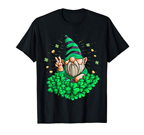 Gnomo Hippie Leprechaun Trébol Patty Day Gnomo San Patricio Camiseta