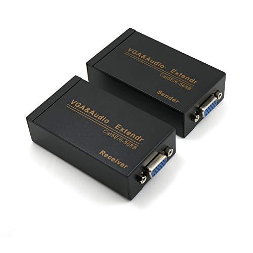 Extensor VGA sobre Cat6 hasta 100 m / 100 m VGA adaptador de extensión sobre cable Ethernet RJ45 (1 transmisor + 1 receptor)