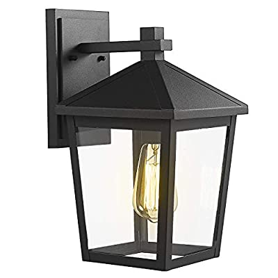 Zeyu Exterior Wall Light, Outdoor Wall Sconce Lantern for Porch Patio, Black Finish with Clear Glass Shade, 20076B2