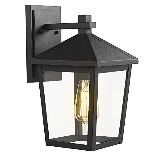 Zeyu Exterior Wall Light, Outdoor Wall Sconce Lantern for Porch Patio, Black Finish with Clear Glass...