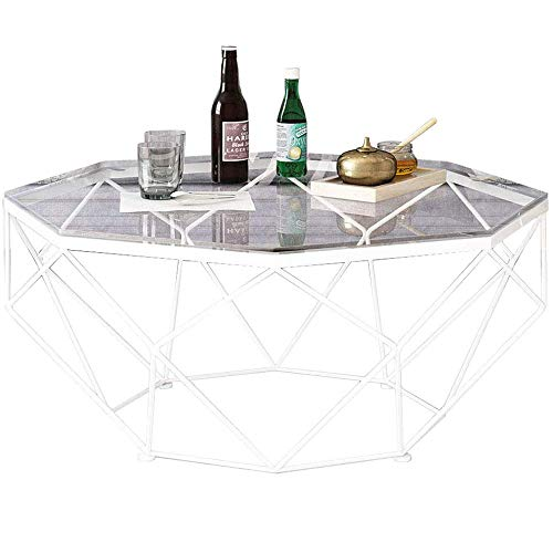GRXXX Nordic Modern Round Side Coffee Table Living Room Coffee Table Casual Accent Cocktail Table Home Coffee Table, Gold/Glass,White,87x45 cm