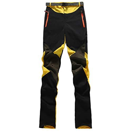 Haobing Donna Pantaloni da Trekking Outdoor Asciugatura Rapida Pantaloni Sportivi con Cintura Pantaloni Lunghi da Escursionismo (#2 Giallo, CN L)